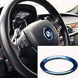 BMW 高品質 ハンドル ロゴ メッキ リング カバー ステアリング ハンドル カスタム アルミ センター リング ホイール シール ステッカー パーツF10 F20 F30 X3 X4 X5 ブルー K001-15