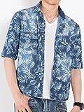インディゴ M シャツ メンズ 5分袖 ボタニカル 柄 デニム 半袖