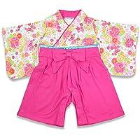 ベビー 赤ちゃん 袴風 カバーオール ロンパース 女の子 全開き ピンク 90cm 10657606PI90