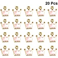 PRETYZOOM 20pcs Crown Enamel Charms Vintage Alloy Queen Crown Pendant Spacer Beads for DIY Bracelet Necklace Jewelry Making (Black)