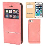 iPhone SE iPhone5s iPhone5 ケース 手帳型 カバー COSMO FLIP 窓付き カード収納 / ピンク