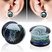フレッシュトンネル ボディピアス耳ゲージストレッチエクスパンダー ボディピアスジュエリー 1ペアのガラスオーシャンクラゲの耳栓エキスパンダートンネルサイズを選ぶ0g-5/8 '' 耳プラグボディピアスセット (Size : 16mm)