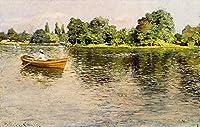 ¥5K-200k 手書き-キャンバスの油絵 - 美術大学の先生直筆 - Summertime 1886 印象派 William Merritt Chase 風景画 絵画 洋画 複製画 水景色 ホームデコレーション LEWE3 -サイズ16