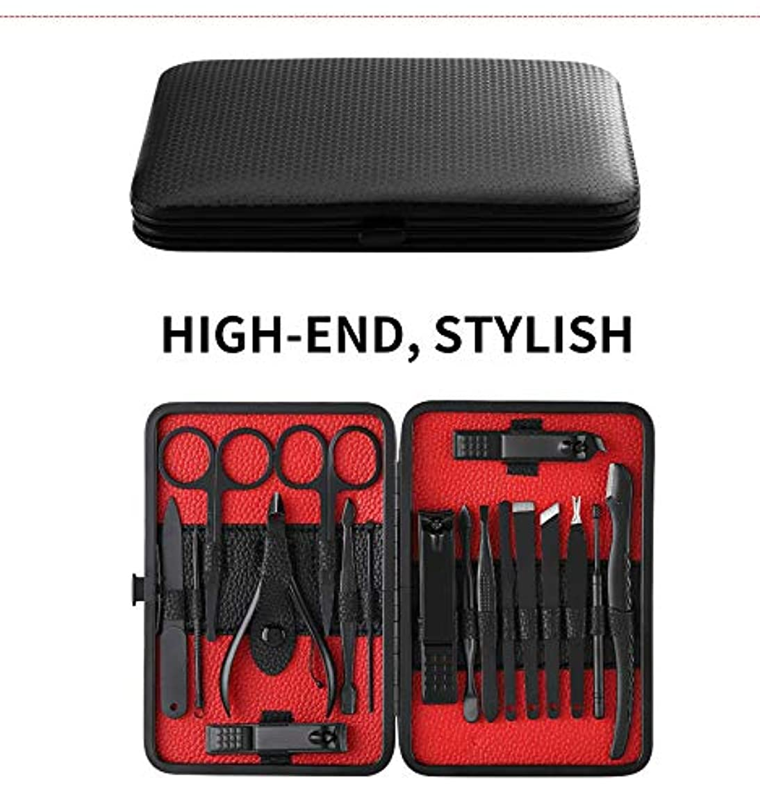 18pcs Manicure Set Nail Clippers Kit Pedicure Care Tools Black Men Grooming Kit With Black PU Leather Case for...