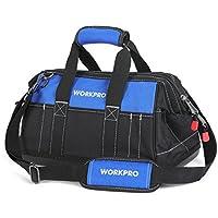 WORKPRO ツールバッグ 工具差し入れ 道具袋 工具バッグ 大口収納 600Dオックスフォード ワイドオープン プラスチック強化底 幅約400mm