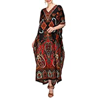 Miss Lavish London Women Kaftan Tunic Kimono Free Size Long Maxi Party Dress for Loungewear Holidays Nightwear Beach Everyday Cover Up Dresses #102
