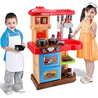HJXDJP- 子供のままごと遊びをする厨房のおもちゃ 料理道具、食器、食物などのとても多い部品 親子ゲームはなぞらえ似せてご飯を炊きます音がします (A8 赤)