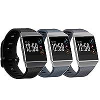 (アクザー・ワイ) aczer-Y Fitbit Ionicスマートウォッチ 交換用バンド 15色 クラシックなデザイン TPU製腕時計バンド  ステンレス製バックル付き Lサイズ/Sサイズ(トラッカー本体は別売り) S