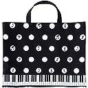 Pianoline ボタンで2WAYトートバッグ(水玉音符&鍵盤柄) レッスンバッグ 音楽バッグ