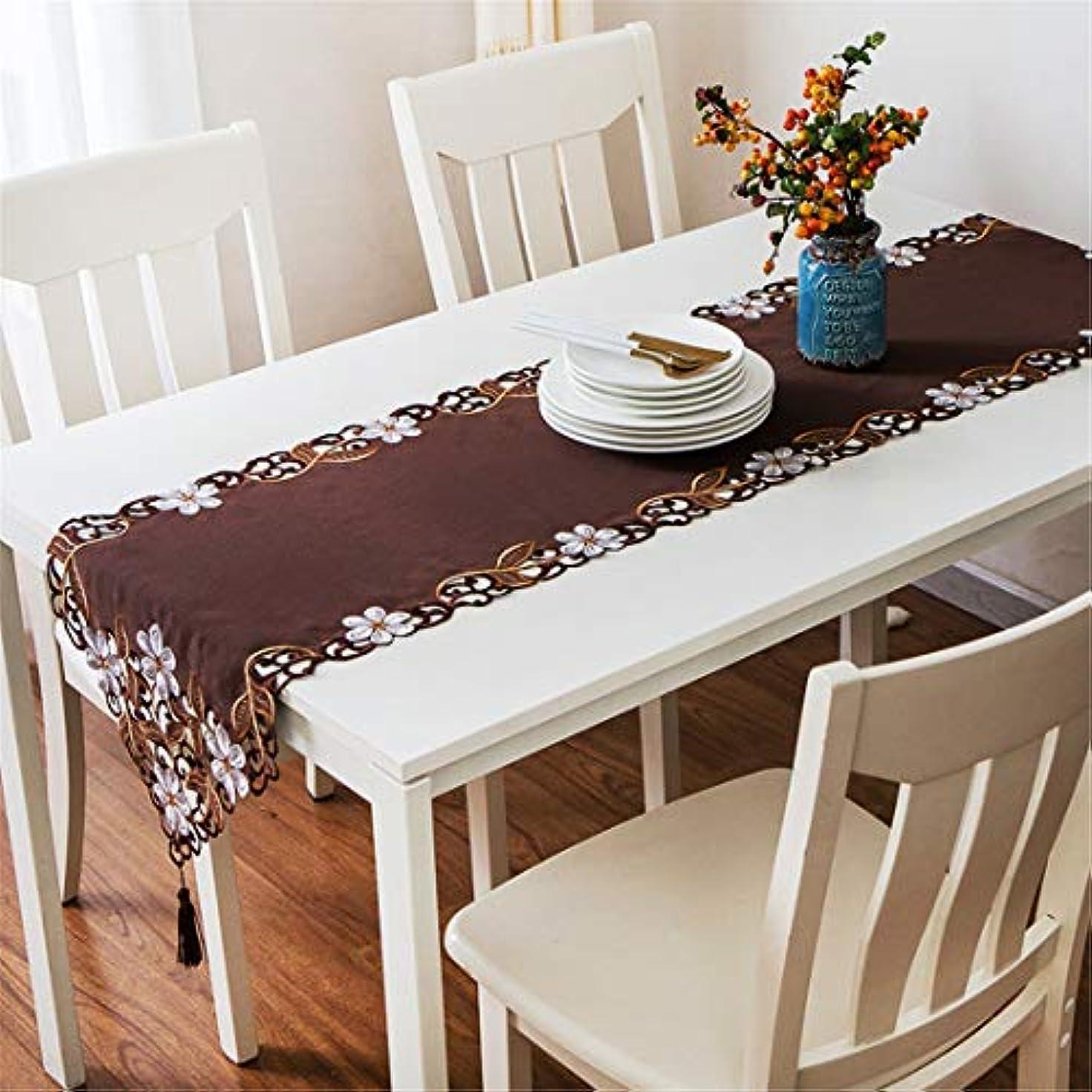 すきピクニック蒸発表旗欧州の刺繍テーブルクロス長方形中空表コーヒーテーブル靴キャビネットテーブルクロス,ブラウン,40*176