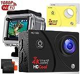HDCool アクションカメラ 4K高画質 30M防水 Wi-Fi搭載 1600万画素 2インチ液晶画面 170度広角レンズ スポーツカメラ バイクや自転車、カートや車に取り付け可能 HD動画対応 2個900mAh電池 複数のアクセサリー ドライブレコーダーとして使用可能 HC7000 ウェアラブルカメラ ドライブレコーダーとして使用可能(ホワイト)