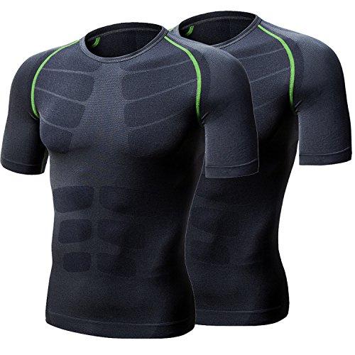 LeoSport 二件 半袖 格好 良く見せたい メンズ の必須な一着 姿勢の正し 完璧な 体型 を引き立て 新発売 運動短袖 ウエア軽く 快適 通気性 透気 軽い圧力 急速乾燥服 (L, ブラック+グリン)