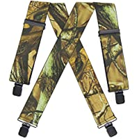 "2"" Mens Suspenders Camouflage Heavy Duty for Hunting Fishing Work Hiking"