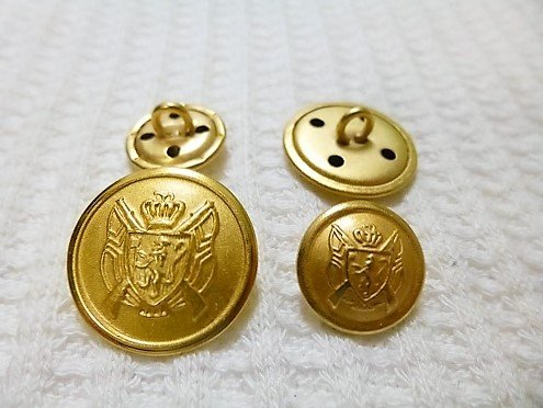 ジャケット用 金色メタル(金属) ボタン20mm 4個 15mm 8個 合計12個入り