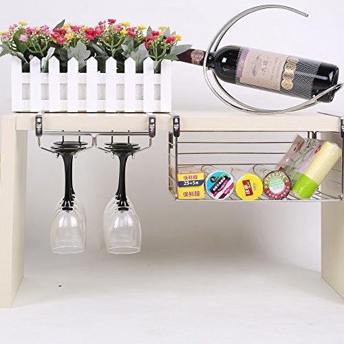 ワイングラスホルダー 穴あけ不要 棚厚さ調節可能 ネジ止め不要 吊り下げ 304 ステンレス製 6杯まで収納