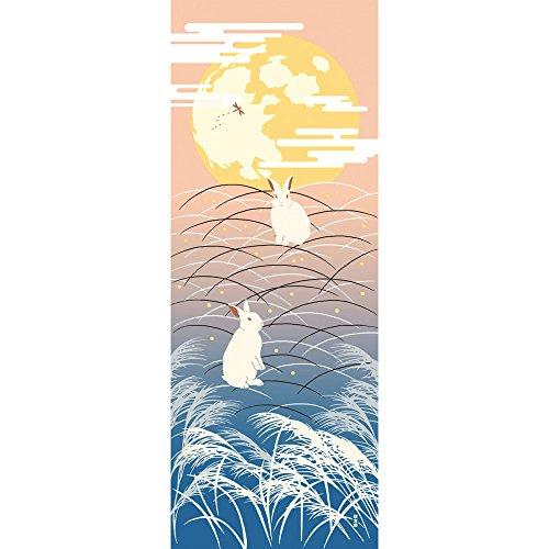 濱文様 絵てぬぐい 月兎の夢 ピンク