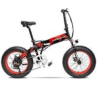 Cyrusher X2000 500W ミニ折り畳みアシスト自転車 軽量アルミフレーム フルサスペンション ファットバイク 7段速電動アシスト自転車 48V10ah (赤)