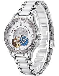 PRINCE GERA 腕時計 レディース 高級 機械式 自動巻き 防水 花 ダイヤ シースルーバック 女性 ウォッチ [並行輸入品]