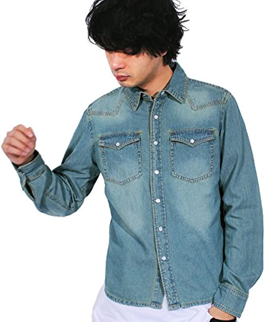 磁気柔らかい不倫(エイト) 8(eight)5color USED加工 デニムシャツ 長袖シャツ ウエスタンシャツ