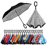 Bagail 複層 逆に開く傘 逆折り式傘 防風 紫外線防御 ビッグ 長傘 C型手元 車用 雨の日用 アウトドア用 白い点