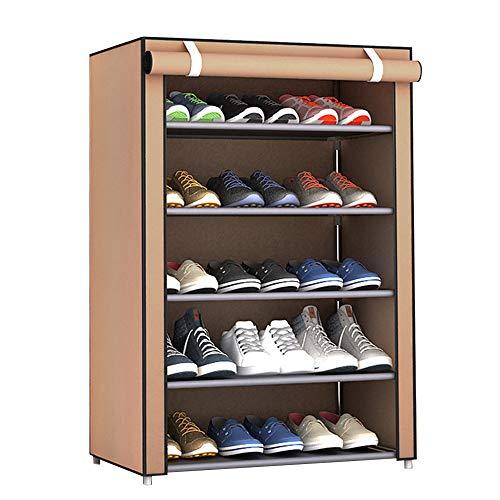 Haihuic ポータブルシューズラック (6ティア、ブラウン) 靴の収納オーガナイザーキャビネット...