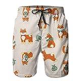 かわいい柴犬 メンズ サーフパンツ 水陸両用 水着 海パン ビーチパンツ 短パン ショーツ ショートパンツ 大きいサイズ ハワイ風 アロハ 大人気 おしゃれ 通気 速乾