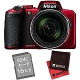 【SD16GB&クロス付き】ニコン コンパクトデジタルカメラ COOLPIX B600 レッド (デジカメ/コンデジ)(Nikon)