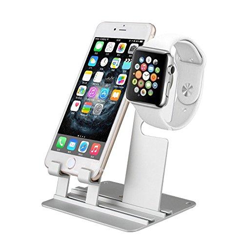 Apple Watch 38mm 42mm 対応 アルミニウム製 アップルウォッチ 充電 クレードル ドック デスクトップ スタンド 可動式 自由 レイアウト スタンド 充電 ケース Apple watch 38mm/ 42mm・iPhone 7 Plus / 7/ 6s plus / 6s / 6 Plus / 6 / 5s / 5 / 5c・iPod Touch・iPad / mini 7.9 / Air 9.7 ・スマホ スマートフォン タブレット 【日本語組立方付】+【design office work】オリジナルロゴ クリーニングクロス付 (Apple Watch + iPhone・iPad・iPod・各種スマホ, Silver シルバー 銀)