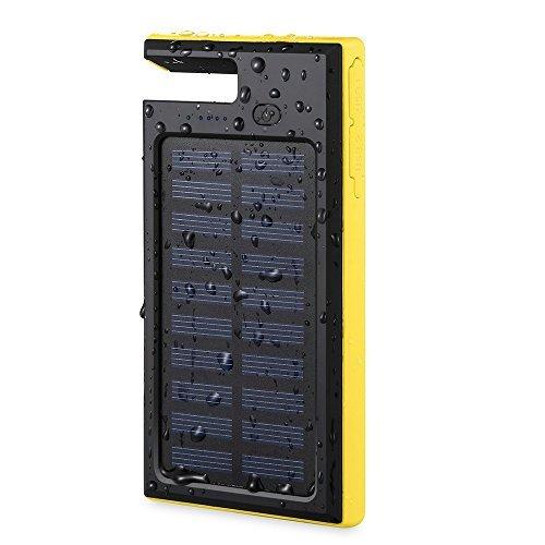 Antun モバイルバッテリー ソーラー充電器 移動的なバッテリー 防水・撥水 大容量10000mAh iphone.ipad.Samsug.Sonyなど充電可能 懐中電灯に使える 携帯便利スマホスタンド機能付き