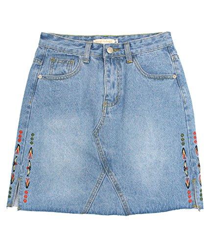 anap mimpi サイド刺繍デニムミニスカート ブルー S