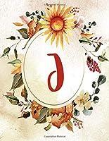 "Notebook 8.5""x11"", Letter J, Orange Green Floral Design (Letter/Initial J - Orange Green Floral Design Notebook 8.5""x11"" Alphabet Series)"