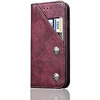 【楽しい家】iphone X保護カバー iphone Xケース 手帳型 カード入れ アイホンiphone X 革カバー マグネット スマート保護カバー 防塵 全面保護 スタンド機能付き (iphoneX, ワインレッド)