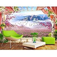 3Dの部屋の壁紙写真不織布壁画、山の装飾絵画のラベンダーの花3Dの壁の壁画、壁紙280 cm(W)x 180 cm(H)