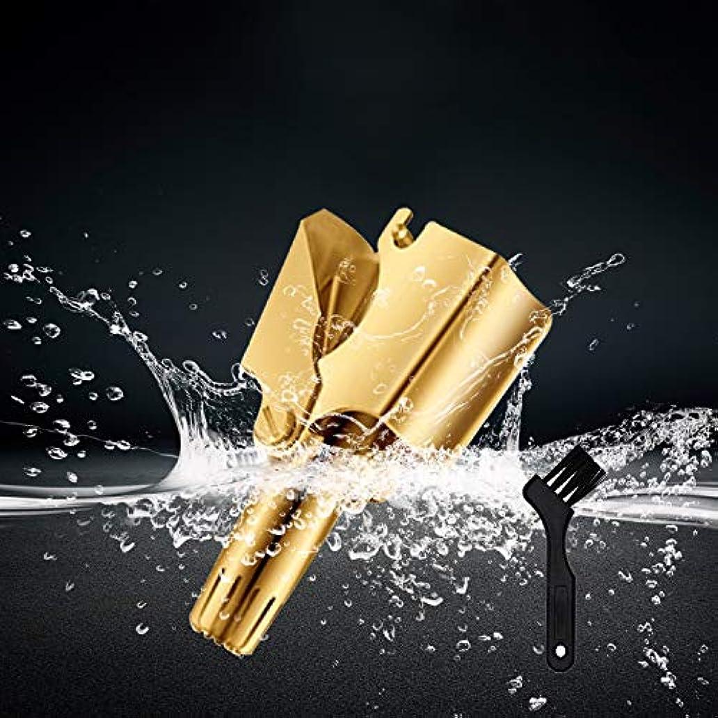 無人国家工夫するステンレス鋼の携帯用手動鼻及び耳の毛のトリマー、クリーニングブラシが付いている洗える鼻の毛の取り外し (Color : Gold)