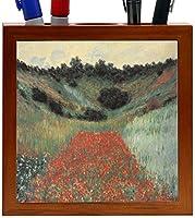 Rikki Knight Claude Monet Art Poppy Field in Giverny Design 5-Inch Wooden Tile Pen Holder (RK-PH3568) [並行輸入品]