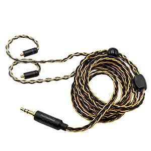 TRN T1 金銀メッキ8芯イヤホンアップグレードケーブル 3.5mmステレオミニ  高解像度 高品質なプラグ 高品質なプラグ KZ ZS10 PRO AS10 ZS10 ZS6 ES4 ZST ZSR ED16 TRN V80/UE900s SE215 SE425 TIN Audio T2 T3 BGVP/KZ ZS6 ZS5 ZS4 ZS3 ZSA ED168など多種のイヤホンとアンプ及び音楽プレーヤーに対応できるHIFIケーブル (MMCX)