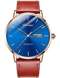 GUANQIN 腕時計 アナログ 自動巻き 機械式 ウォッチ メンズ 人気 ブランド ステンレススチール と レザー オス 時計 カレンダー 防水 おしゃれ ユニーク デザイン (ローズゴールドブルーブラウン)