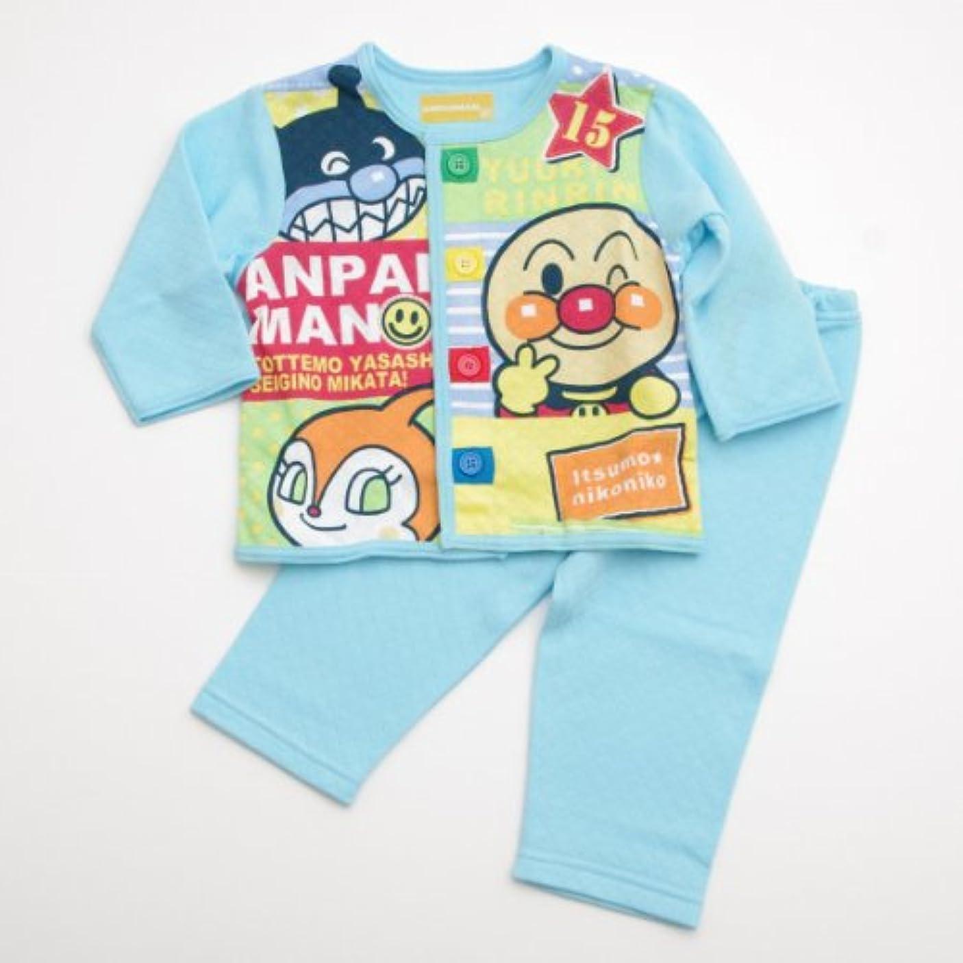 汗普遍的ななぜならアンパンマン!お着替え練習長袖パジャマ ブルー(EA2307)