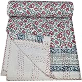Yuvancrafts Indian Traditional Patchwork Cotton Kantha Quilt Multi Color Twin Quilt Blanket Bedspreads Throw