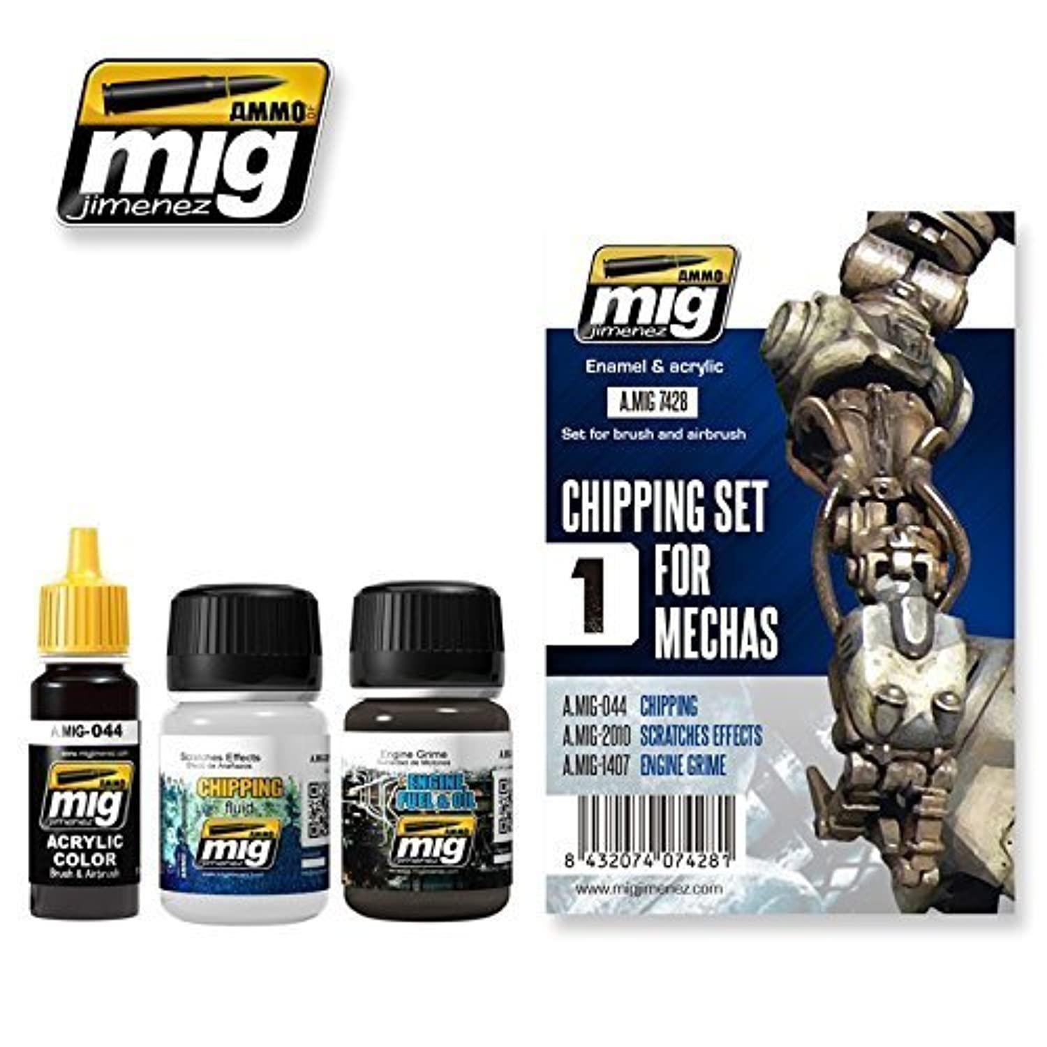 AmmoのMig Jimenez Chipping Set For Mechas 3 Jars # 7428