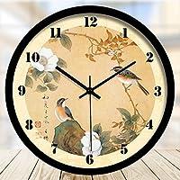 ANDEa 中国スタイルの花と鳥の壁時計居間の装飾時計と時計時計の壁時計ミュートクォーツ時計 クリエイティブ.a ( 色 : #3 , サイズ さいず : 34.5CM )