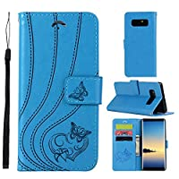 Samsung Galaxy Note 8 2017 case, Phoebe ウォレットケース Samsung Galaxy Note 8 2017 ウォレットケース Built-in Stand Function for Samsung Galaxy Note 8 2017 – Blue Leather