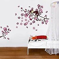 樱のホーム 桃の枝に眠っている猿DIY取り外し可能な壁のステッカーデカール(多色)