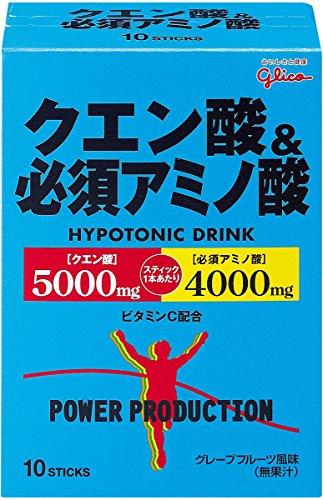 グリコ パワープロダクション クエン酸&必須アミノ酸 ハイポトニック粉末ドリンク グレープフルーツ風味 1袋 (12.4g) 10袋 -