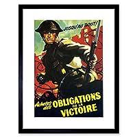Vintage Ad War WWII Canada Victory Soldier Grenade Framed Wall Art Print 第二次世界大戦