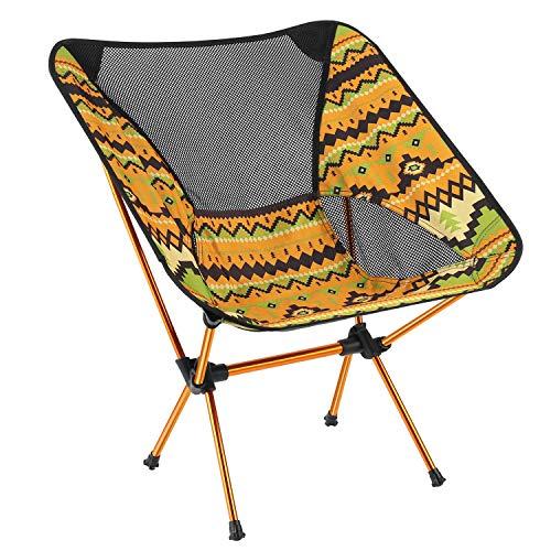 アウトドア チェア Alloyseed キャンプチェア 折りたたみチェア 超軽量 収納簡単 コンパクト アルミ合金 900g 持ち運びやすい (color yellow)