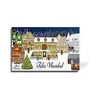 スペイン メリークリスマス グリーティングカード - クラシック ホリデービレッジ (フローレンタインカーシブフォント) 20 Cards $1.59 ea