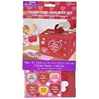 Amscan Adorable Valentine's Day Party Decorate Mailbox Multicolor 5 3/4 x 8 3/4 x 5 3/4-Inch [並行輸入品]