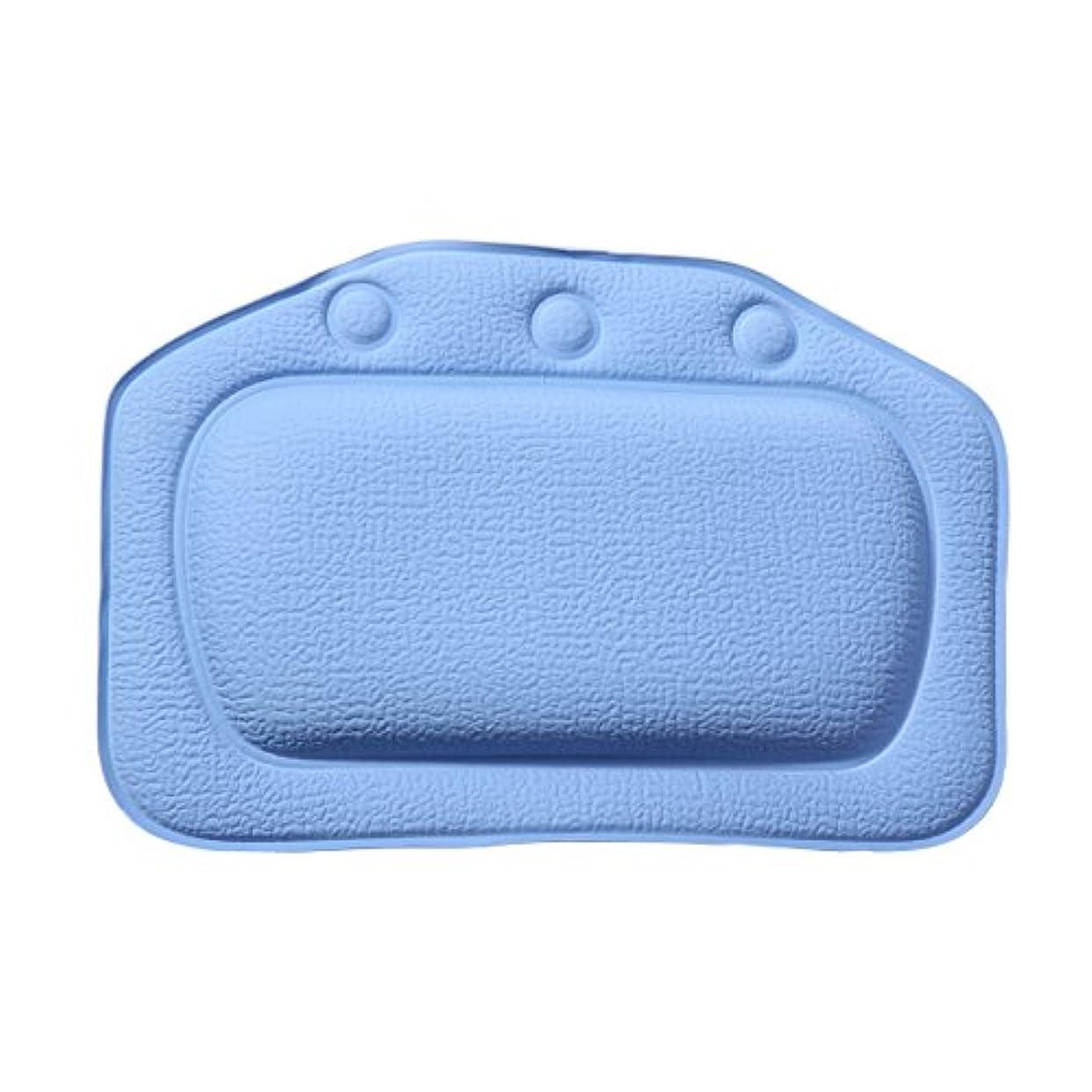 肘年次必要条件ROSENICE お風呂まくら バスピロー 3つ吸盤 超强吸着 滑り止め PVC バスタブ 浴槽枕 枕 安眠 人気 肩こり 熟睡 浴用品 グッズ 横向き枕 防水(ダークブルー)