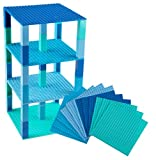(06 - Blue Colors) - Strictly Briks Classic Stackable Baseplates 15cm x 15cm Brik Tower 100% Compatible with All Major Brands Building Bricks for Towers & More 12 Base Plates & 120 Stackers in 12 Blue Colours